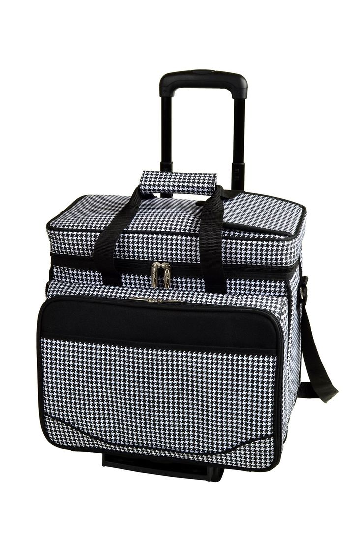 Houndstooth Four Person Removable Wheeled Cart Picnic Cooler
