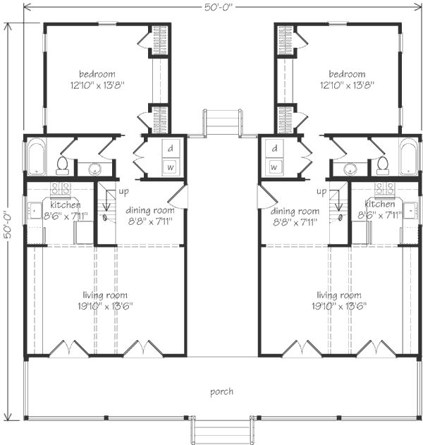Love this it looks like a duplex but i 39 d make one side Dogtrot house plan