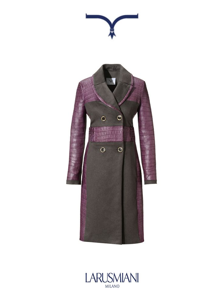 Trench in cocrodile and cashmere, silk and chinchilla, with hand smocked belt line.  #christmas #wishlist #woman #fashion #luxury www.larusmiani.it