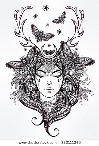 Hand drawn beautiful artwork of female shaman portriat. Alchemy, religion, spirituality, occultism, tattoo art, coloring books. Isolated vector illustration.