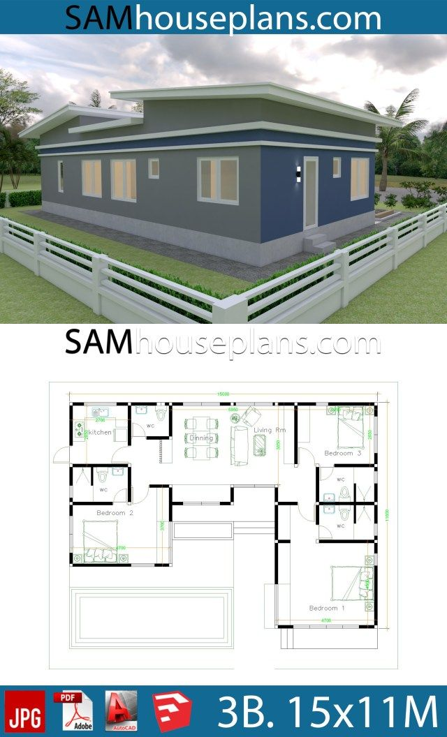 House Plans Idea 17x13 With 3 Bedrooms Slope Roof Sam House Plans House Plans House Layout Plans House Layouts