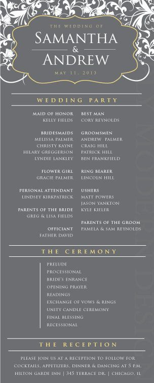 classic and elegant wedding ceremony program, PRINTABLE. $26.00, via Etsy.