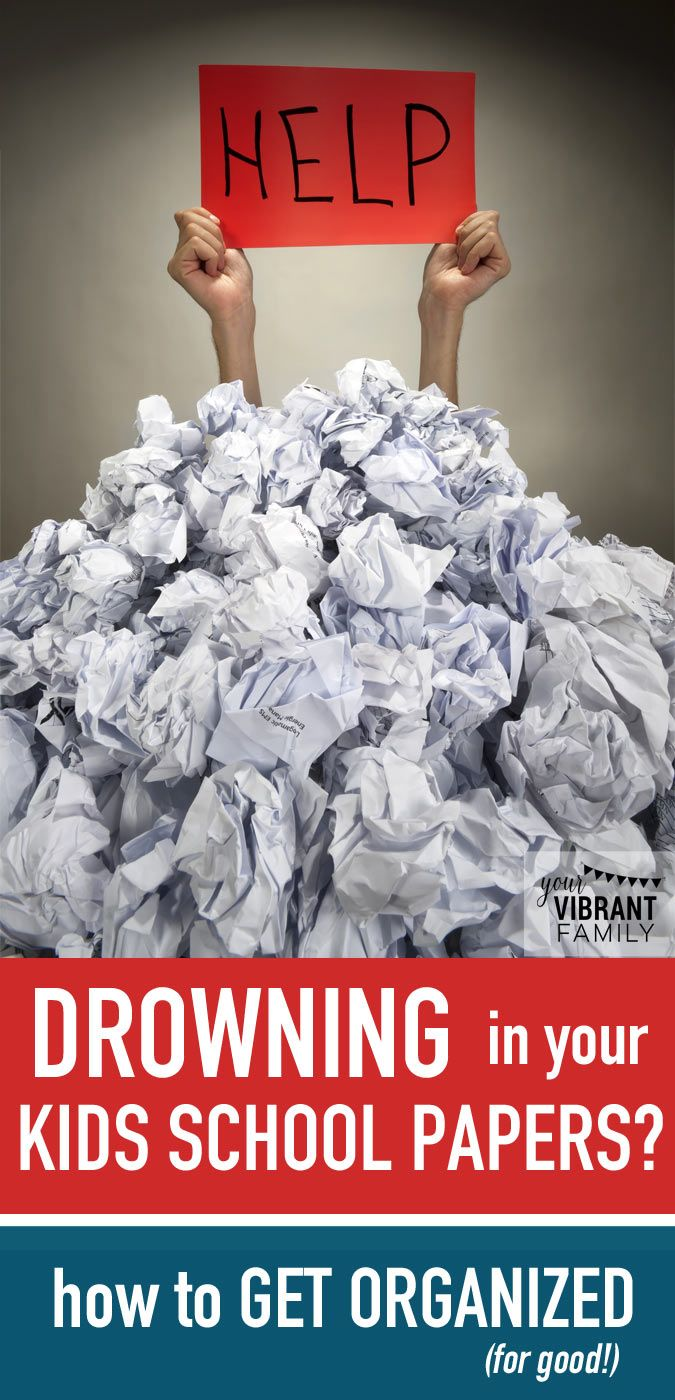 Oh my gosh... this is exactly how it feels! Are you drowning in your kids school papers?There's just so many of them! So many great tips here on how to determine what papers to keep and then how to set up a system to organize kids school papers for good! EVERY MOM needs to read this!