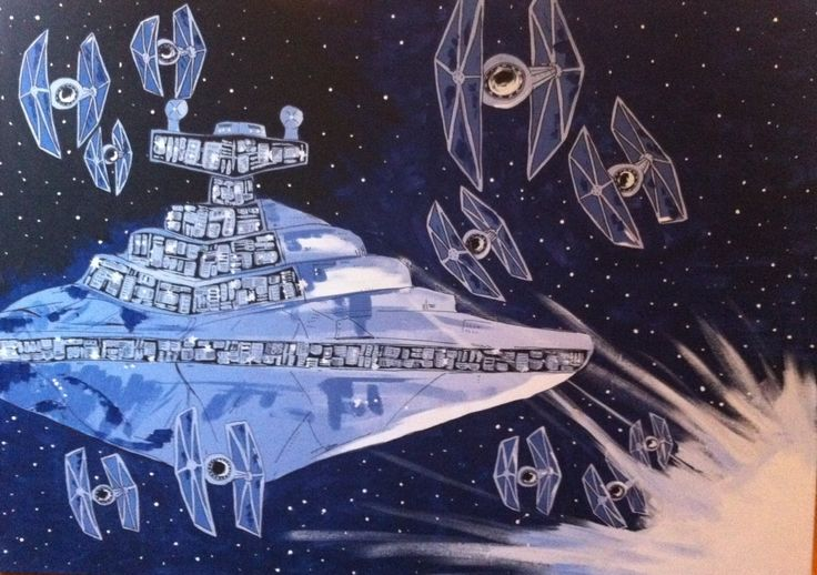 Star Wars Ships: This is acrylic paint on a 6'x5' canvas. Very big piece. I painted in for a friend that loves Star Wars for a Christmas gift. The contrasts of light vs. dark really show a story in the piece.