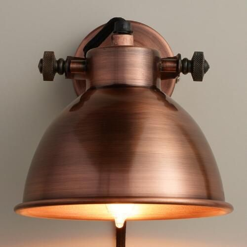 WorldMarket.com: Copper Ethan Wall Sconce $40 - Also available in Aged Zinc and Brass