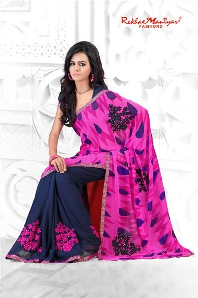 Beautiful Ethnic saree in beautiful Pink and Navy Blue colors. This elegant ethnic wear has been fabricated from the finest fabrics, and the fine work makes this saree a beautiful attire for your special moments. Pair this fascinating Saree with ethic jewellry and high heels and be the envy for every lady. We have bring this classy and ethnic partywear saree specially for you. These sarees have been designed precisely to give you a perfect look for your perfect occasion.