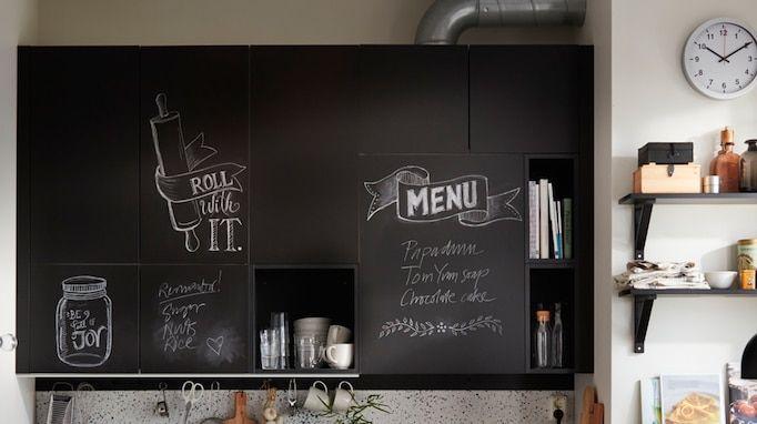 Uddevalla Chalkboard Surface Kitchen Door Black Write Your Own
