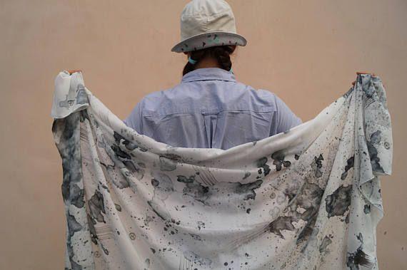 White Black Silk Scarf Large Silk Scarf Handpainted Scarf