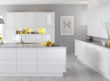 High gloss white kitchen with grey walls kitchen for White gloss kitchen wall cupboards
