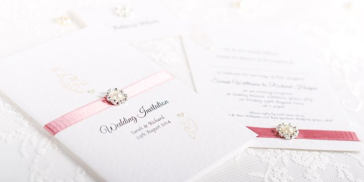 Parisienne Handmade Wedding Invitation Design - ivory embellishment and ribbon