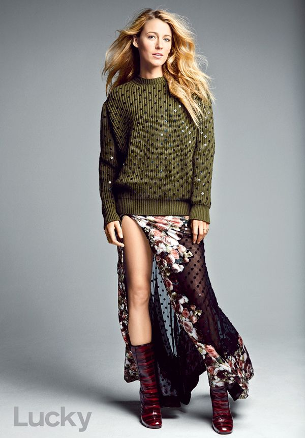 blake lively - lucky magazine - givenchy sweater 90s Inspired