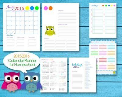 2015-2016 Homeschool Teacher Planner Calendar Editable PDF ...