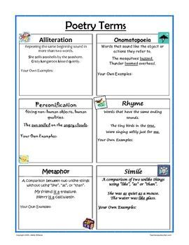 Definitions and examples of poetry terms / figures of speech - alliteration, rhyme, onomatopoeia, simile, metaphor: