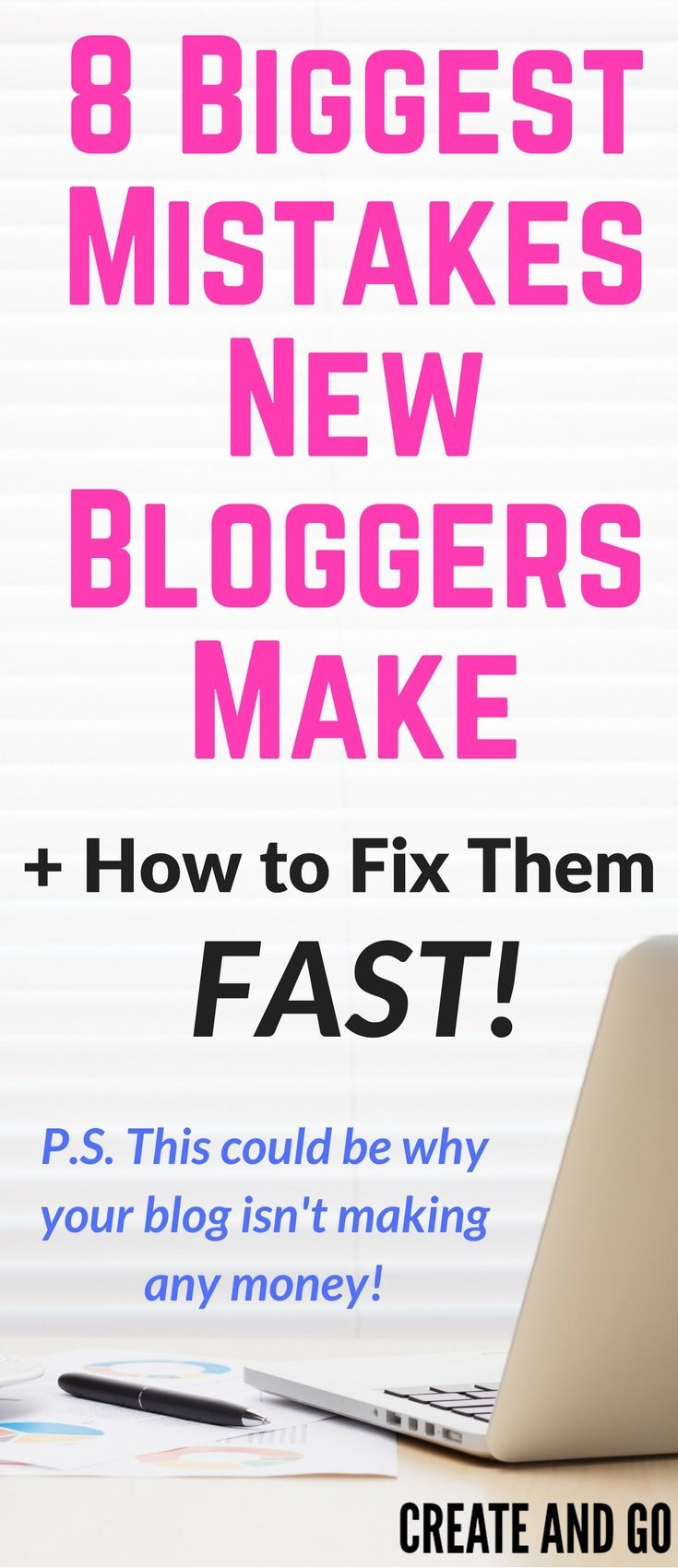 Don't make these huge blogging mistakes and keep yourself from making money online with your blog! http://createandgo.co/biggest-mistakes-new-bloggers-make/