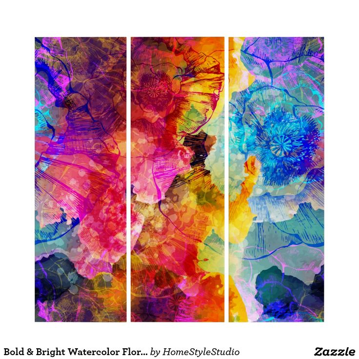 Bold & Bright Watercolor Floral Pattern Triptych