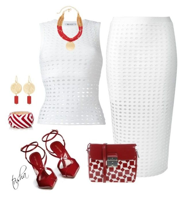 """""""White & Red"""" by pkoff ❤ liked on Polyvore featuring T By Alexander Wang, Chico's, Marc Jacobs, Sergio Rossi and Mola SaSa"""