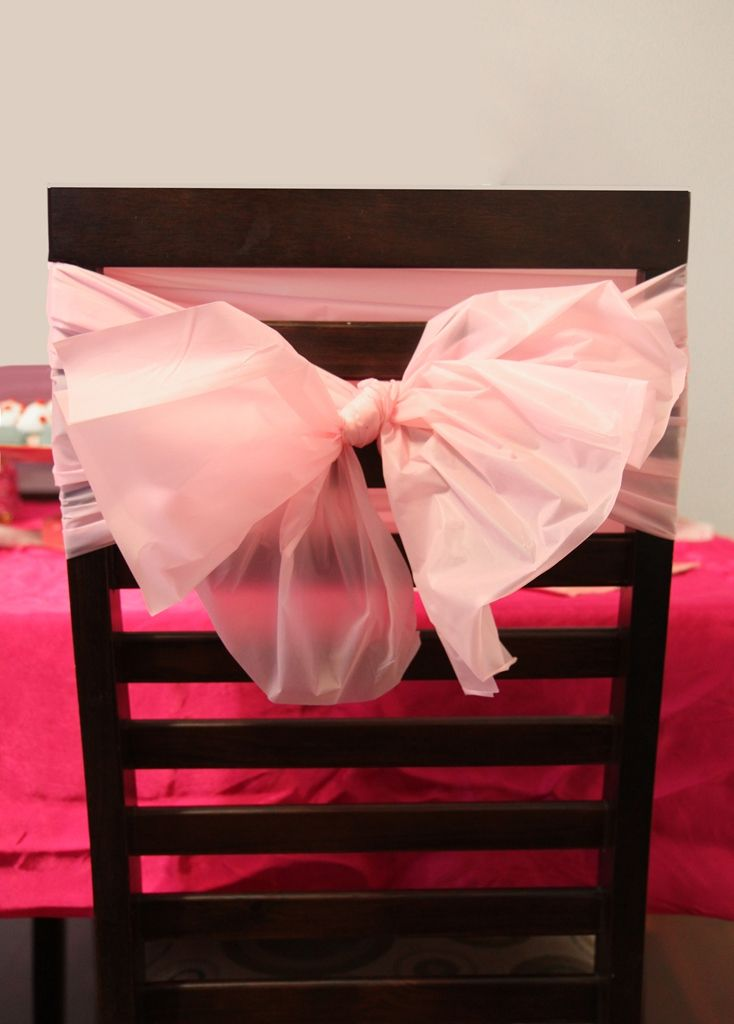 Nice Decorate The Chairs With Inexpensive Plastic Table Cloths. Cut Them Into  Strips And Tie Around
