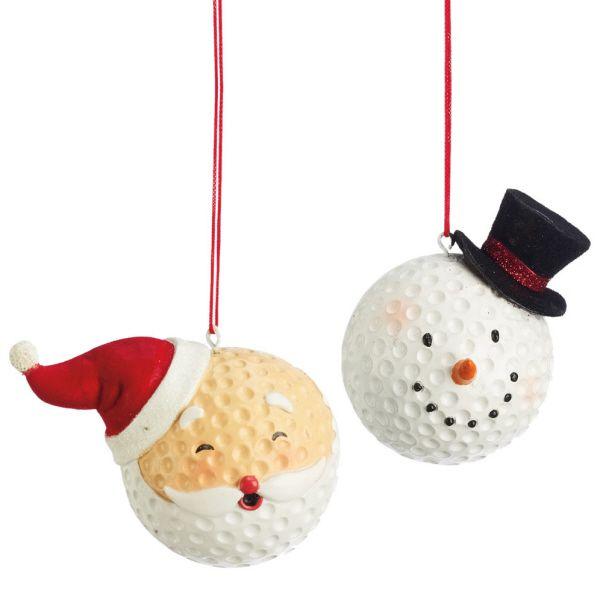 Santa & Snowman Golf Ball Christmas Ornament (Set of 2)