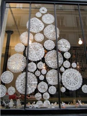 Paper Snowflakes! Great winter theme without being too Christmasy. In fact, you could probably do this in any shape if you feel the Tree is too Christmasy.