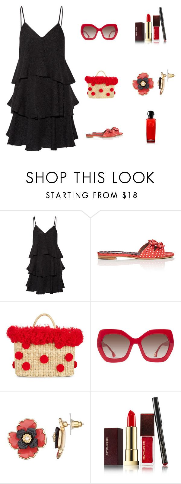 """Black with Red Accessories"" by scolab ❤ liked on Polyvore featuring Paul & Joe, Tabitha Simmons, Nannacay, Alice + Olivia, Dana Buchman and Kevyn Aucoin"