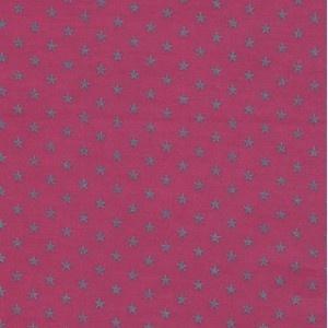 Tissu enduit coton Batiste fuchsia étoiles argent x 10cm