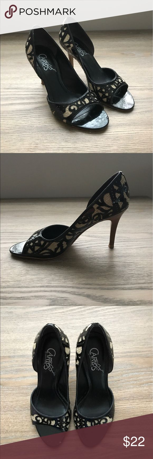 """Carlos Santana Envy Heels in size 6.5 Black patent leather and burlap with cutout detail. Peep toe heels in size 6.5. Wood grain 3"""" heel. Worn only a few times. Small scuff by toe on one shoe. Carlos Santana Shoes Heels"""