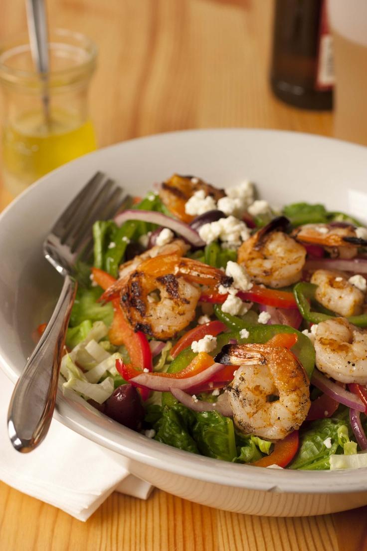 Gulf Coast Greek Salad / Grilled Shrimp  Lulu's Restaurant in Gulf Shores, Ala.
