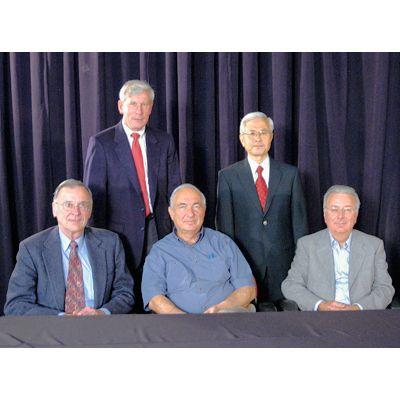 The Intel 4004 development team meet again in May 2007. T. Hoff, H. Feeney, S. Mazor, M. Shima, F. Faggin