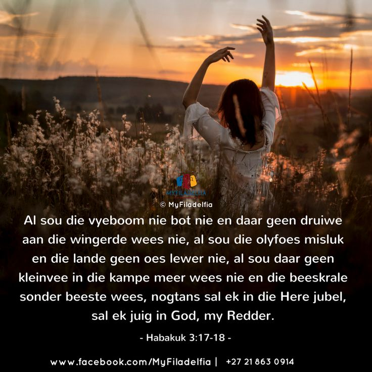 """""""Al sou die vyeboom nie bot nie en daar geen druiwe aan die wingerde wees nie, al sou die olyfoes misluk en die lande geen oes lewer nie, al sou daar geen kleinvee in die kampe meer wees nie en die beeskrale sonder beeste wees, nogtans sal ek in die Here jubel, sal ek juig in God, my Redder."""" (Habakuk 3:17-18)"""