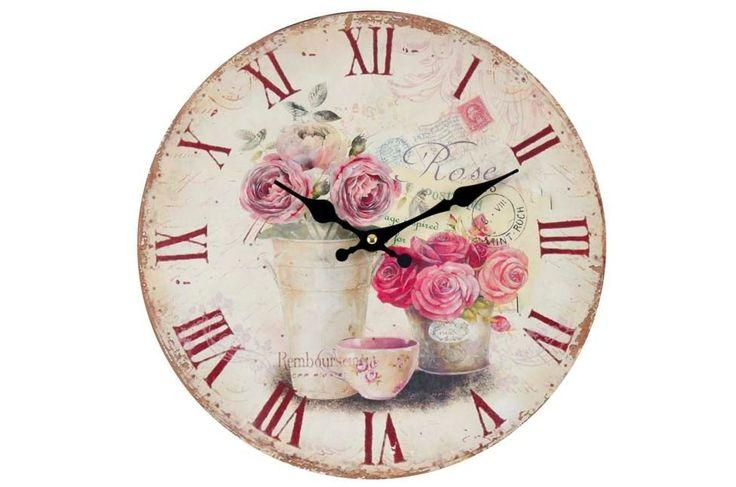 Ceas de lemn de perete Roses & Letters