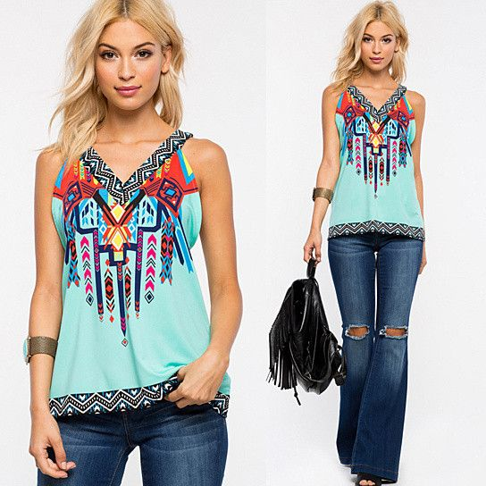 Roma Top In Tribal Print    #Fashion #Clothing #NewItems