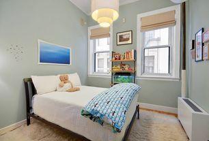 Transitional Kids Bedroom with Built-in bookshelf, flush light, Carpet, High ceiling, Hardwood floors