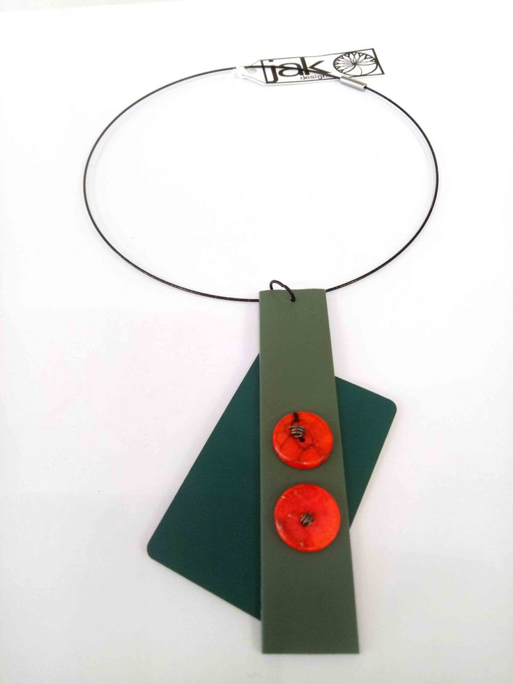 JakDesigns - Green laminex and Formica necklace $30