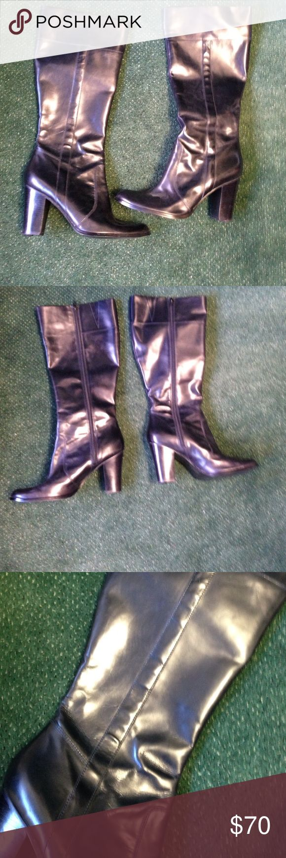 Marc Fischer black long boots sz 11 worn 1x indoor Style is MFTALENT. Leather upper Balance manmade. Heel is 3.5 inches. I put on taps on the heels to prolong the life of the boots. Marc Fisher Shoes Combat & Moto Boots