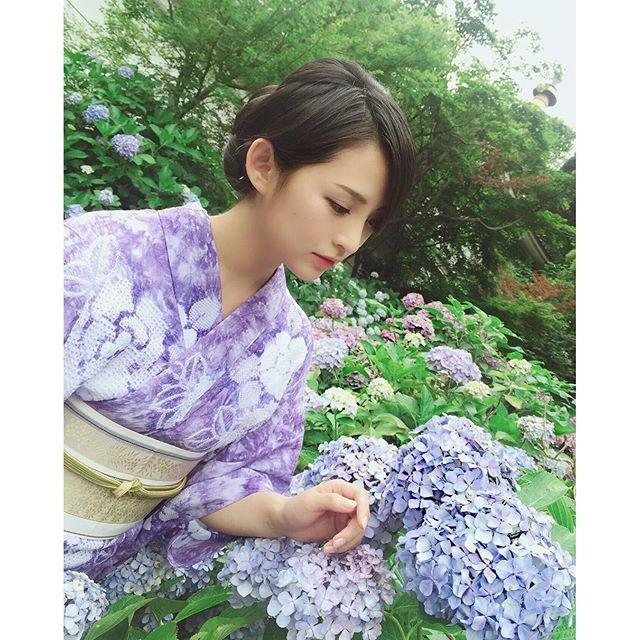 ラベンダー色の浴衣 #鈴木咲 #suzukisaki #有松絞り #arimatsushibori #浴衣 #ポートレート #wafuku #yukata…