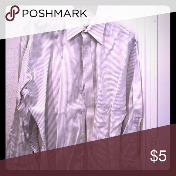 White with black pin stripes men's dress shirt White with black pinstriped men's non iron dress shirt with gold up cuffs joseph & feiss Shirts Dress Shirts