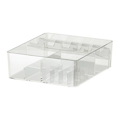 $18.00  This is the best acrylic countertop makeup organizer I've found so far.   -  GODMORGON Box with compartments - IKEA