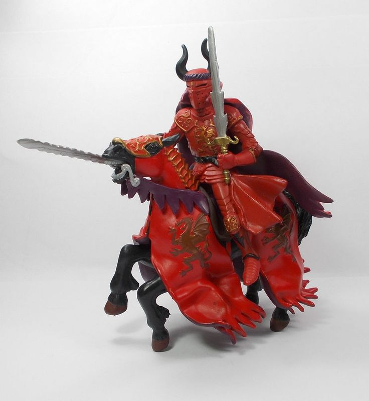 Papo - Red Knight & Horse - Toy Figure - Medieval - Knights - Papo 2004