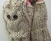 Oatmeal owl ladies fingerless wool-rich gloves