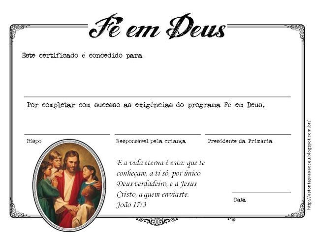 Certificado - Fé em Deus