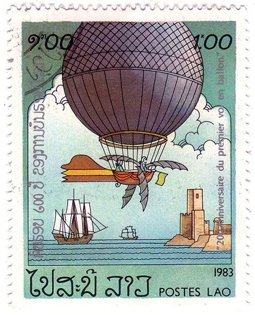 Ballooning stamp from Laos, 1983 | Philately Fridays