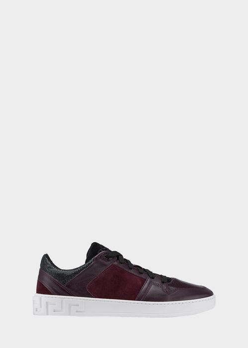$725 VERSACE Low-Top Sneakers - Versace Sneakers - affiliate - Closed toe, low-top, suede and leather sneakers with Versace tongue and stacked sole. Laced  Versace tongue  Low-top  Stacked sole  100% Leather  100% Leather (Lining)  Rubber (Sole)