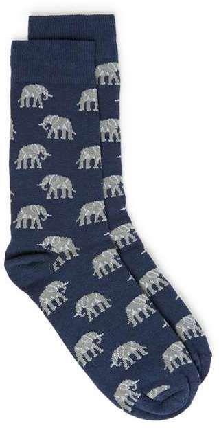 Blue Elephant Motif Socks