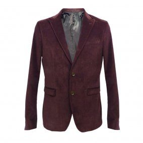 HAMAKI-HO Two Button Slim Fit Blazer GA447H Plum velvet / Two button single vent £174.95