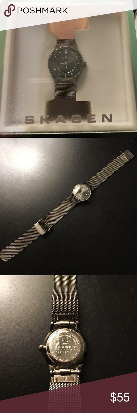 Skagen mesh titanium watch Gently used. Needs battery. Adjustable strap. Gunmetal grey, titanium. Lightweight and durable. Skagen Accessories Watches