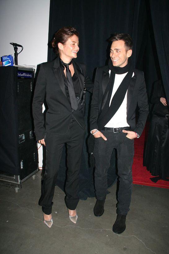 Helena Christensen et Hedi Slimane à l'ouverture de la boutique Dior Homme au Dia Center, New York 2004