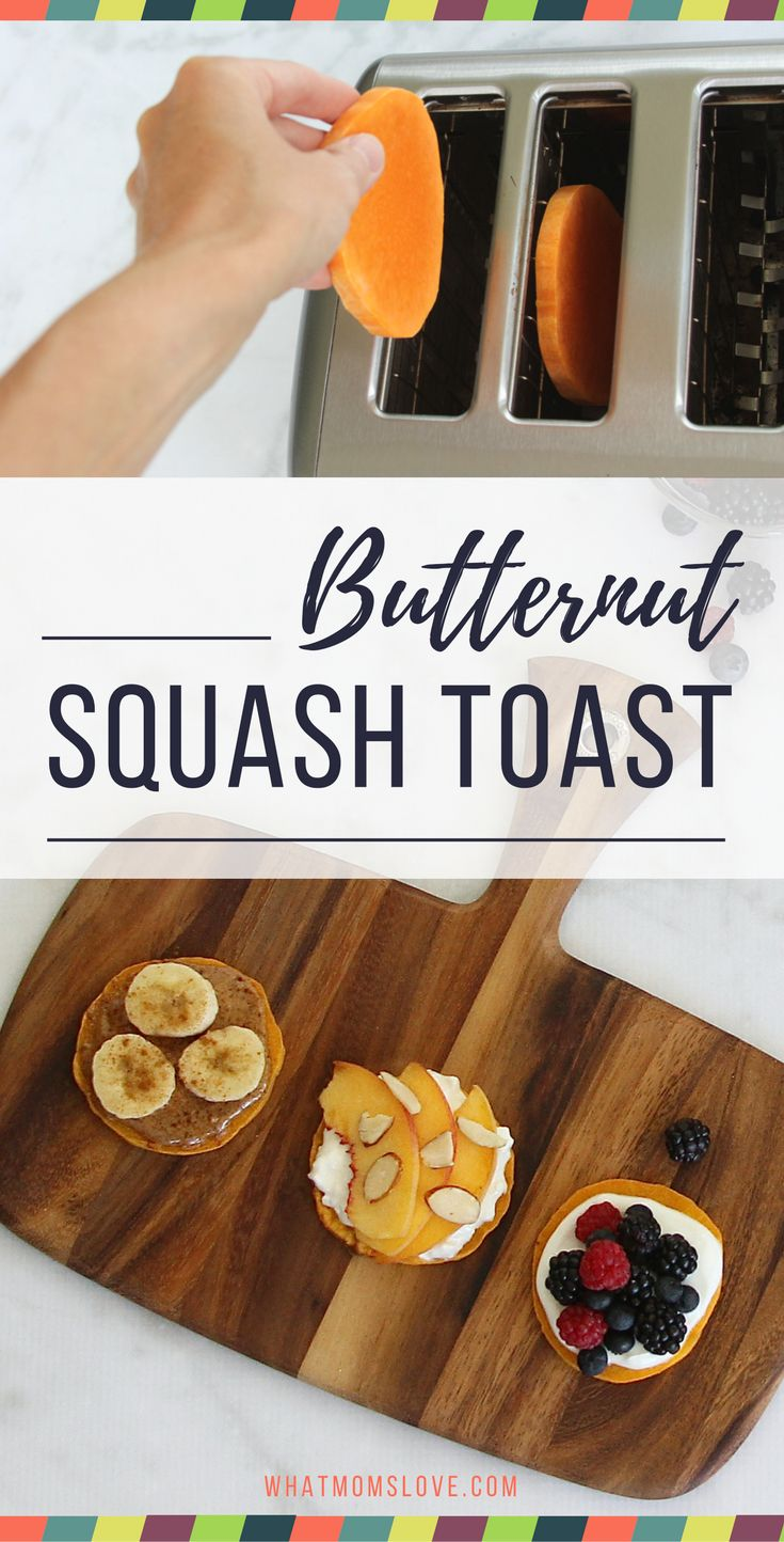 Love Avocado Toast, or perhaps you're a fan of Sweet Potato Toast? Well this Fall alternative using Butternut Squash is absolutely delicious and can be made quickly using your TOASTER! It makes a great Paleo, Gluten-Free, Whole 30, low-fat, low-calorie, vegan alternative to bread, and can be topped with your favorite ingredients for breakfast, lunch or dinner! Check out the full instructions, topping suggestions and pin for reference later | from What Moms Love
