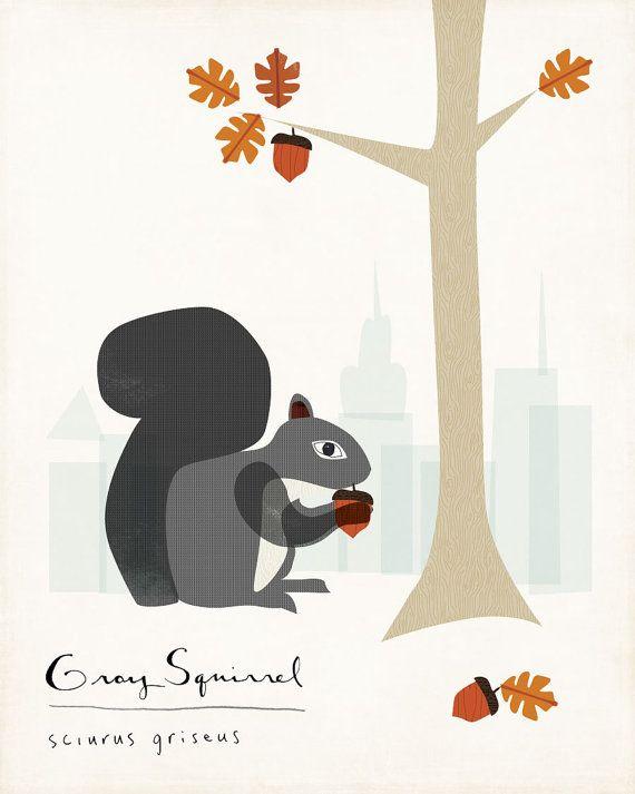 SQUIRREL! Gray Squirrel Limited Edition Print by ShopAmySullivan on Etsy