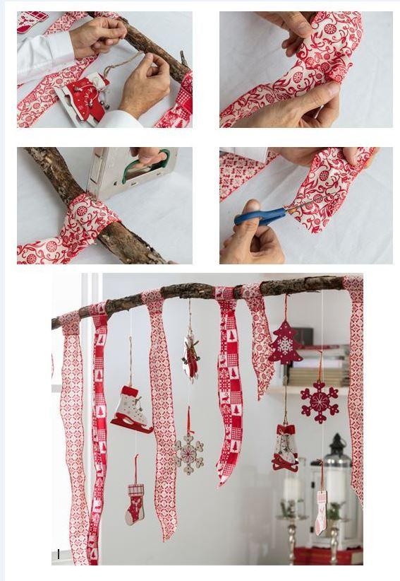 Haz tu propio colgante navideño combinando cintas y adornos para el árbol.