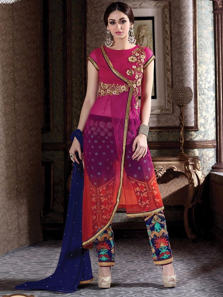 #Pink #Heavy #Embroidered #Jacket #Style #Front #Open #Anarkali #Suit